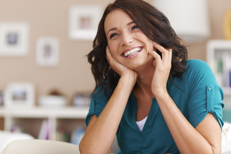 people laughing: Big happiness of beautiful woman Stock Photo