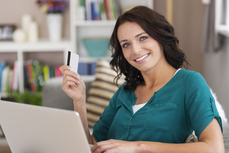 credit card bills: I always using my credit card for shopping online Stock Photo
