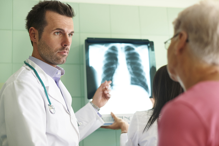 Analyzing x-ray image in the hospital photo