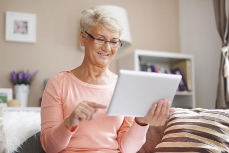 likes: Senior woman likes to using contemporary technology