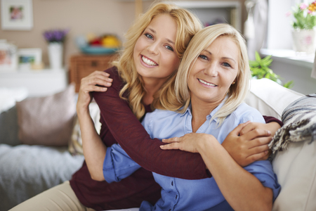 girl sit: I love my mom so much Stock Photo