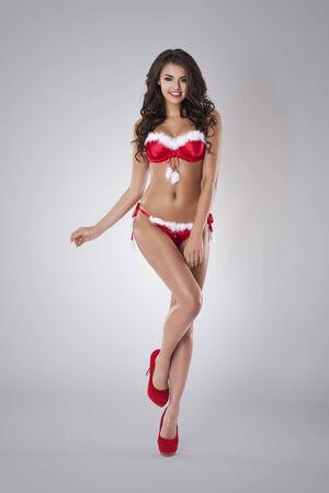 Red panties: Portrait of sexy santa lady Stock Photo