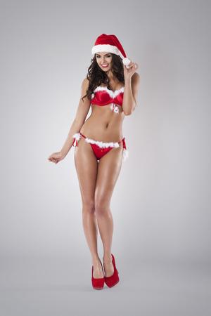 mujer sexy: Caliente de la mujer en ropa interior sexy de santa claus