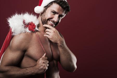 m�nner nackt: Gl�cklich und sch�n Weihnachtsmann