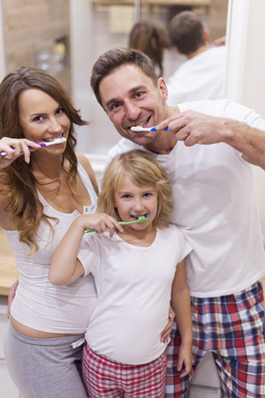 brush teeth: Always brush your teeth after a meal Stock Photo