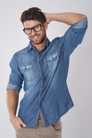 Handsome man wearing fashion glasses