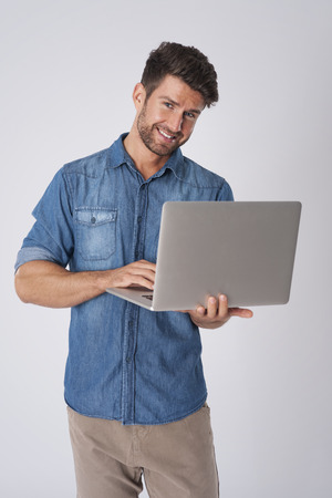 laptop stand: Working with the best equipment Stock Photo