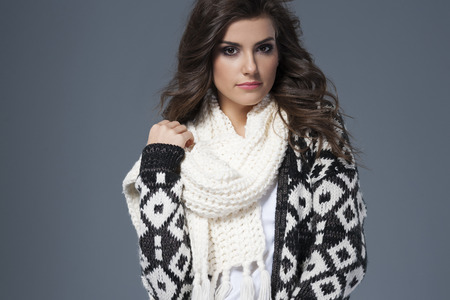 Portrait of beautiful woman in warm clothes
