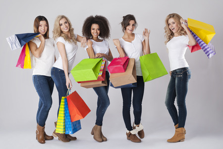 multi race: Sale is the perfect time for women Stock Photo