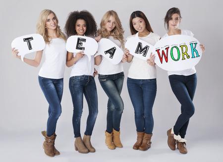 multi ethnic: Teamwork by multi ethnic group of women