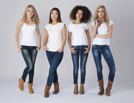 jeans: Group of natural beautiful women Stock Photo