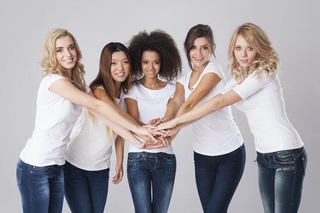 Work team of multi ethnic women Foto de archivo