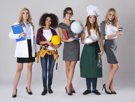 various occupations: Multi ethnic group of women with various occupations Stock Photo