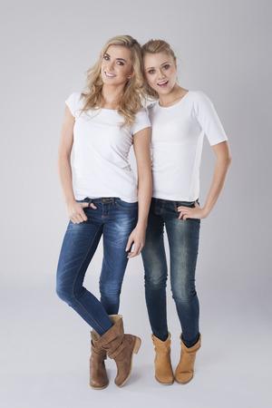 Portrait of two beautiful blonde girls photo