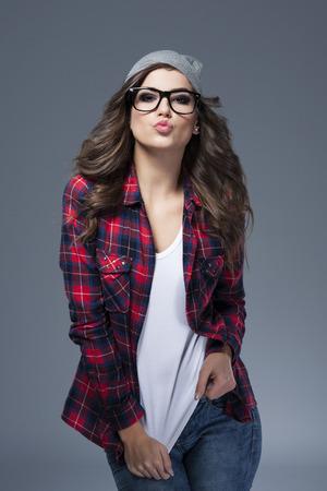 ležérní: Sladké polibky z bederním dívky Reklamní fotografie