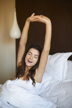 morning routine: She has got great night Stock Photo