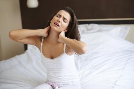 sleepwear: This new mattress is very uncomfortable Stock Photo