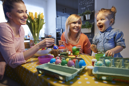 They always painting Easter eggs together Stock Photo - 36522931