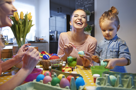 creative egg painting: Happy time during prepare for Easter time