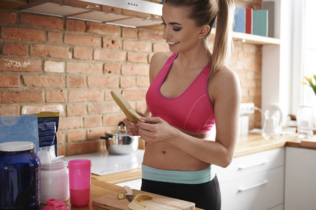 sports bra: Preparing food for all day Stock Photo