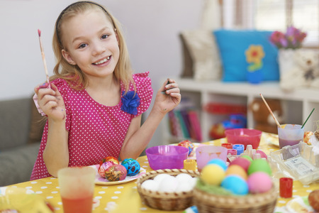 8 9 years: Sweet girl preparing for Easter time