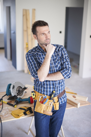 contemplation: Contemplation about new project of construction Stock Photo