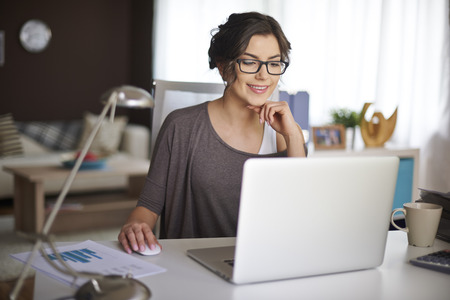 woman at work: Working at home allow me for flexible working