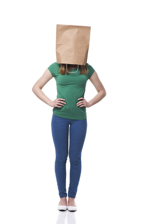 ecologist: Female ecologist with paper bag on head