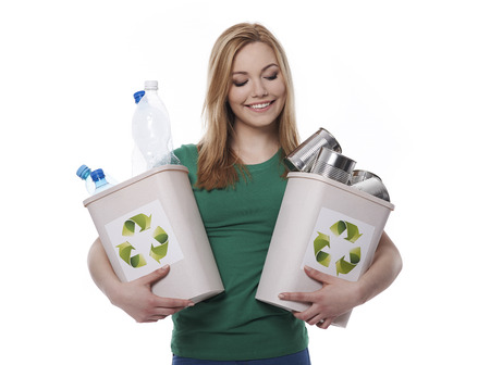 reciclar: Asumir la responsabilidad de sus decisiones Foto de archivo