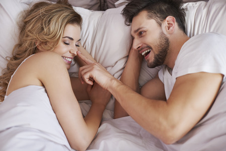 two stroke: Happy morning of young couple Stock Photo