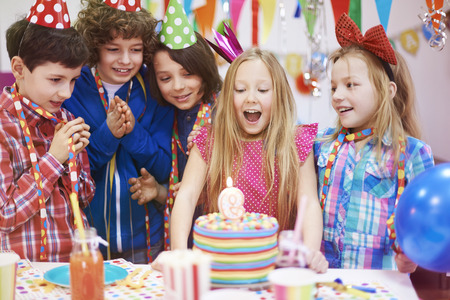 birthday party kids: I hope her dreams comes true Stock Photo