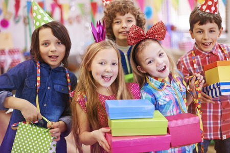 Kids with birthday presents