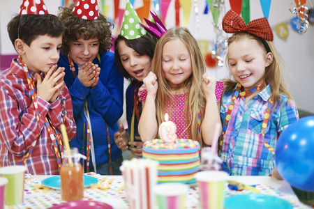 blow out: Make a wish and blow out candle on birthday cake!