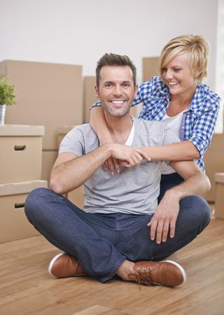 Happy couple in new house photo