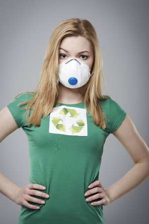 dust mask: Protect world against air pollution concept  Stock Photo