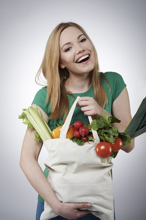 woman bag: Healthy food give you better life Stock Photo