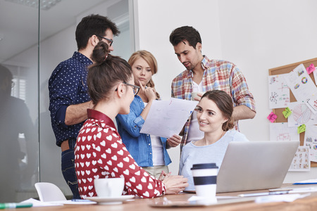 Brainstorming of young team on the meeting Stock Photo