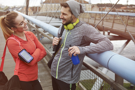 couple exercising: After workout on the fresh air Stock Photo