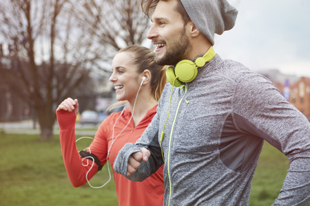workout: Endorphins during the jogging with girlfriend Stock Photo