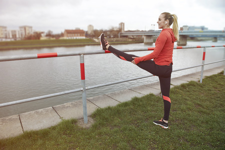 leaning by barrier: Dont forget about stretching after the workout