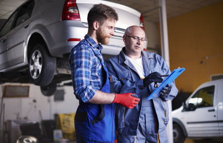 auto service: It looks that every auto parts are ordered Stock Photo