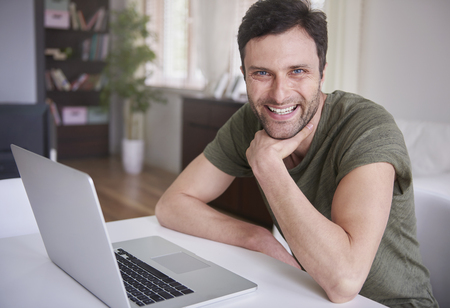 freelancer: Living in a world of technology Stock Photo