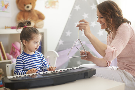 teaching music: This is the best orchestra ever! Stock Photo