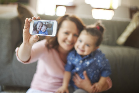 little girl child: Selfie with my little princess Stock Photo
