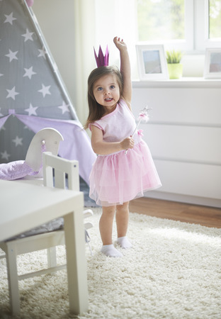 Little cute fairy with magic wand Stok Fotoğraf - 40314347