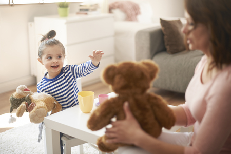 children clothing: Coffee meeting with mommy and my friends Stock Photo