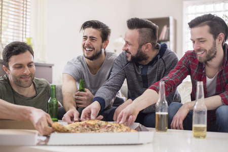 beer bottle: Perfect day for men- pizza and beer