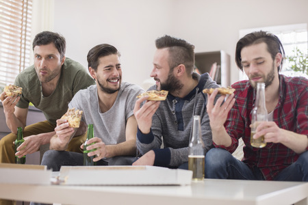 football party: Meeting of men always looks the same