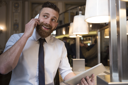 not a problem: Finding new customers is not a problem for him Stock Photo
