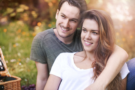 heterosexual couple: I love spending time with him Stock Photo